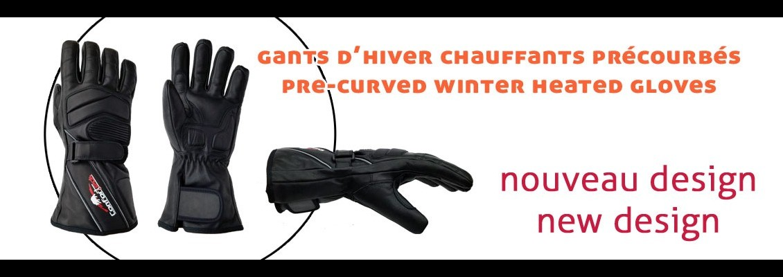 New! Pre-curved winter heated gloves